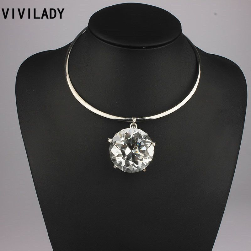 VIVILADY Jewelry Statement Big Crystal Pendants Torques Necklaces Women Collar Chokes Free shipping Bijoux Accessory Party Gifts