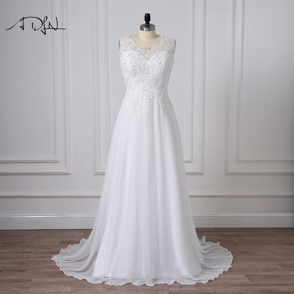 ADLN grande taille robes de mariée col en v sans manches appliqué perlé élégant personnalisé en mousseline de soie plage robe de mariée robes de Novia