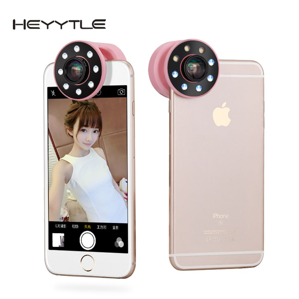 Heyytle Wide Angle Macro Phone Camera Fill Light Lens For Mobile Phone Universal LED Photography Selfie Charging Portable Light