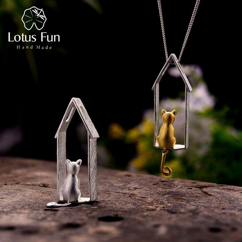 Lotus Fun réel 925 argent Sterling fait à la main bijoux fins Original mignon regarder chat Design pendentif sans collier pour les femmes