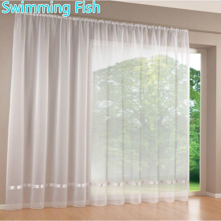 Qualité blanc all-match transparent rideau fenêtre écrans rideau tulle solide voile rideau avec ruban pour chambre 295 cm hauteur max