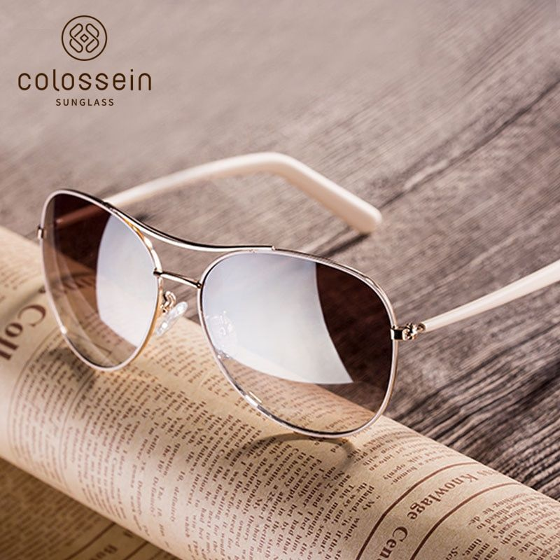 COLOSSEIN New Fashion Sunglasses Women Style light Gold Frame Classic Fishing Female Glasses Summer For Outdoor Eyewear