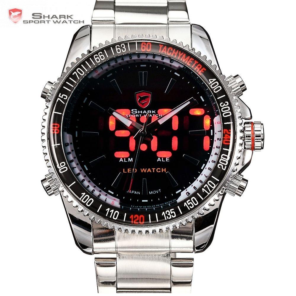 Mako requin Sport montre marque de luxe argent hommes armée numérique LED calendrier alarme électronique étanche en acier montres mâle/SH003