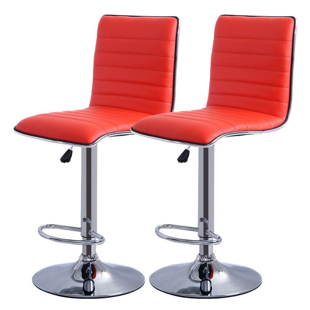 Goplus RU 2 PC Swivel Office Bar Furniture Computer Desk Office Gaming Chair PU Leather Rws Bar Chair bar Stool HW50134-2RE