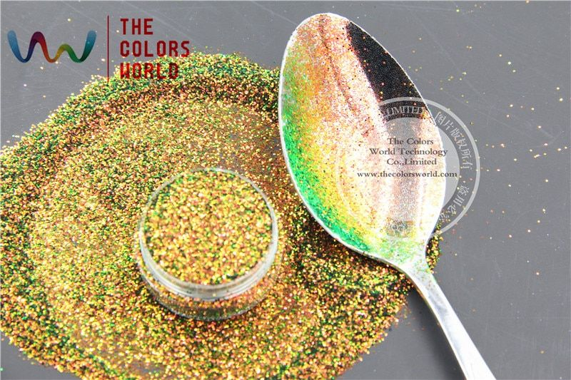 TCR404 Chameleon Glitter Red Gold  With Green  luster color Hexagon shape  0.4MM Size glitter for nail Art and DIY decoration