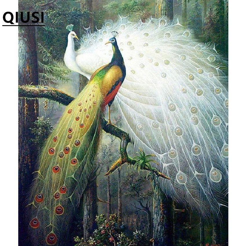 75*65 cm Couture, DMC couleur point de Croix, Plein kit de broderie, forêt amour oiseau paon motif Croix-Point De travail manuel peinture