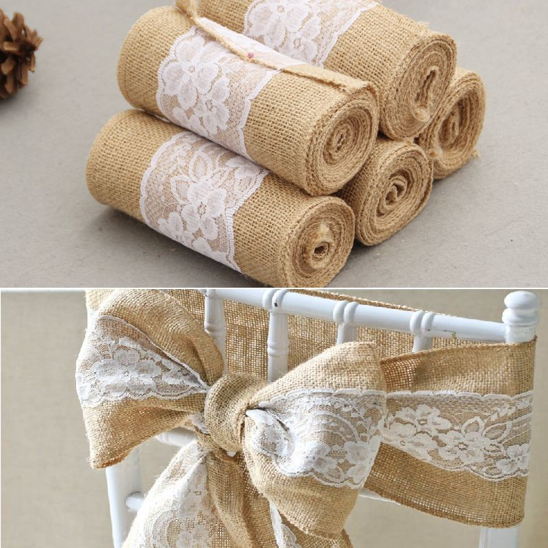 15cm*240cm  jute Burlap Lace Hessian Natural Naturally Elegant Burlap Chair Sashes Jute Chair Tie Bow for Rustic Wedding decor