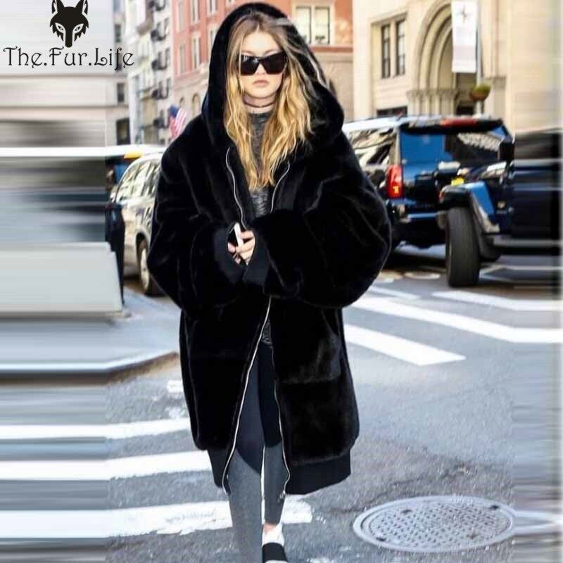 Plus Size 2018 Hot Real Rex Rabbit Fur Coat Full Pelt Thicken Warm Winter Coats Jacket Long Hooded Loose Casual Female Parka NEW