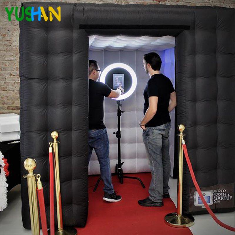 Nizza kabine Aufblasbare Photo Booth Party Kulissen Mit Led-leuchten Keine ausrüstung Tragbare Aufblasbare Zelt Hochzeit hintergrund Verkäufe