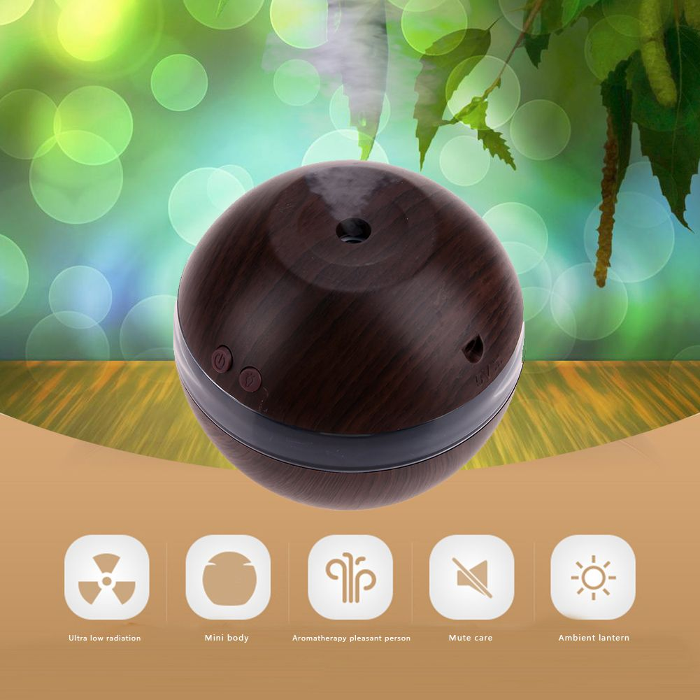 1L Air Humidifier Essential Oil Diffuser USB Wooden Plastic Ultrasonic Mini Household Use <font><b>Ball</b></font> Aromatherapy Electric Humidifier