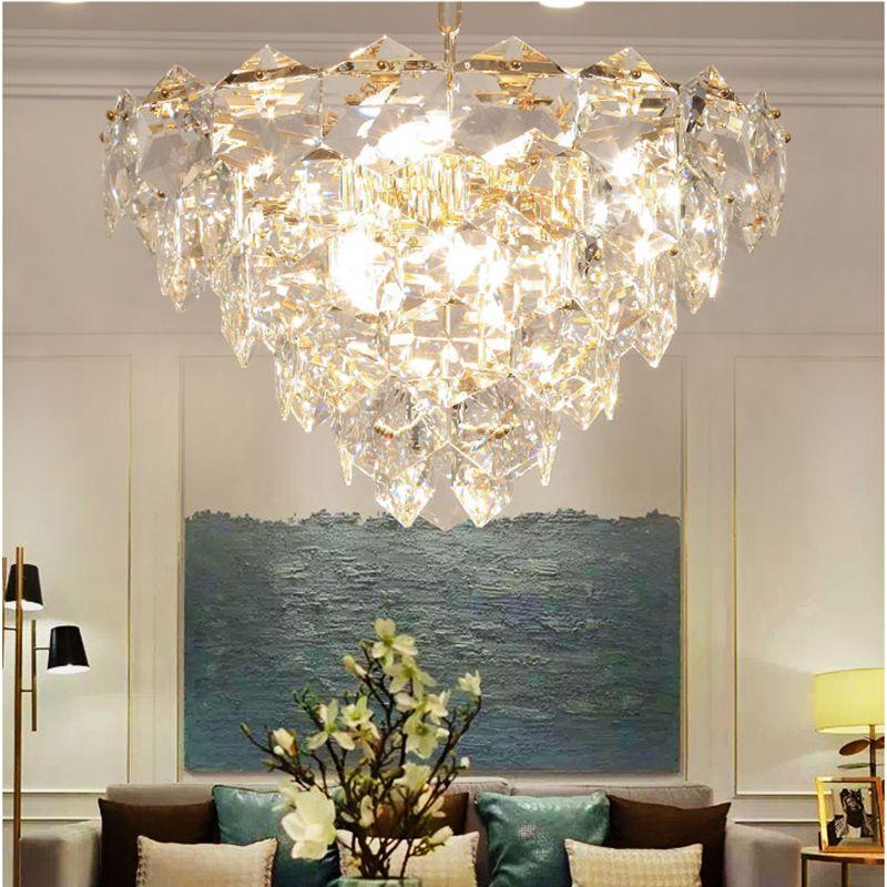 Moderne Kristall Führte Kronleuchter Beleuchtung Gold Metall Wohnzimmer Led Anhänger Kronleuchter Lichter Esszimmer Hängen Lampe Leuchten