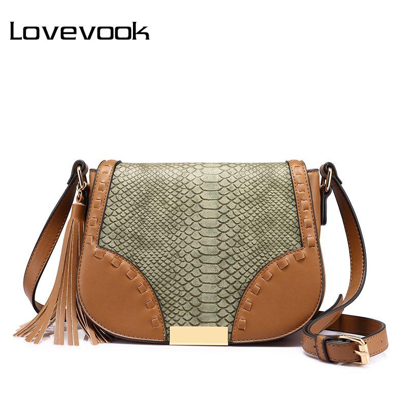 LOVEVOOK women shoulder crossbody bag female messenger bags with tassel high quality ladies bags Beige/Brown/Gray saddle retro