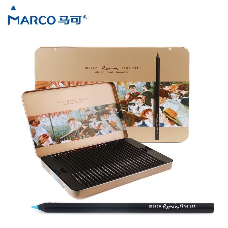 Marco raffine Fine Art crayons De couleur gras professionnels 48 couleurs crayon De couleur Lapis De Cor pour fournitures d'art boîte en fer blanc