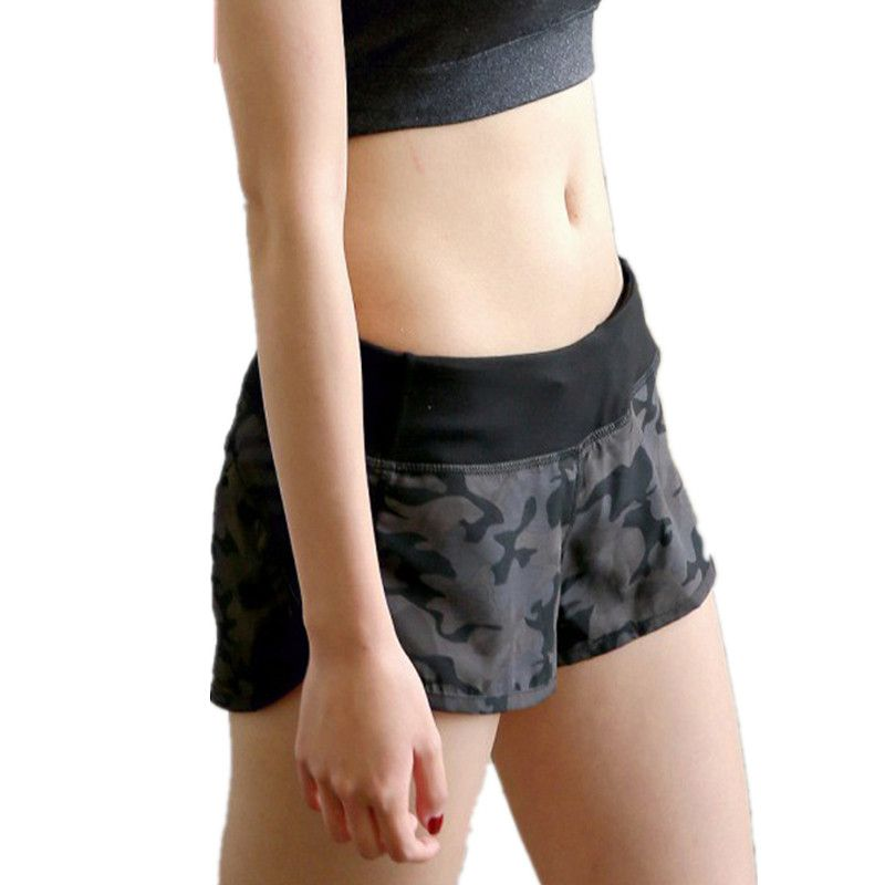 ESHINES Running Shorts 2017 Gym Workout Shorts Camouflage Fitness Women's Elastic Waist Outline Active Women Sports Trouser