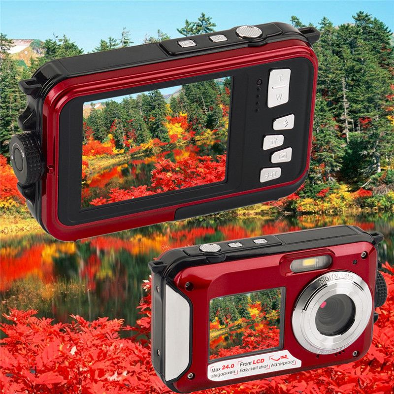 Camera Digital Cam Waterproof 2.7 inch TFT 24MP MAX 1080P Double Screen 16x Digital Zoom Camcorder LED Video Light Camera Newest