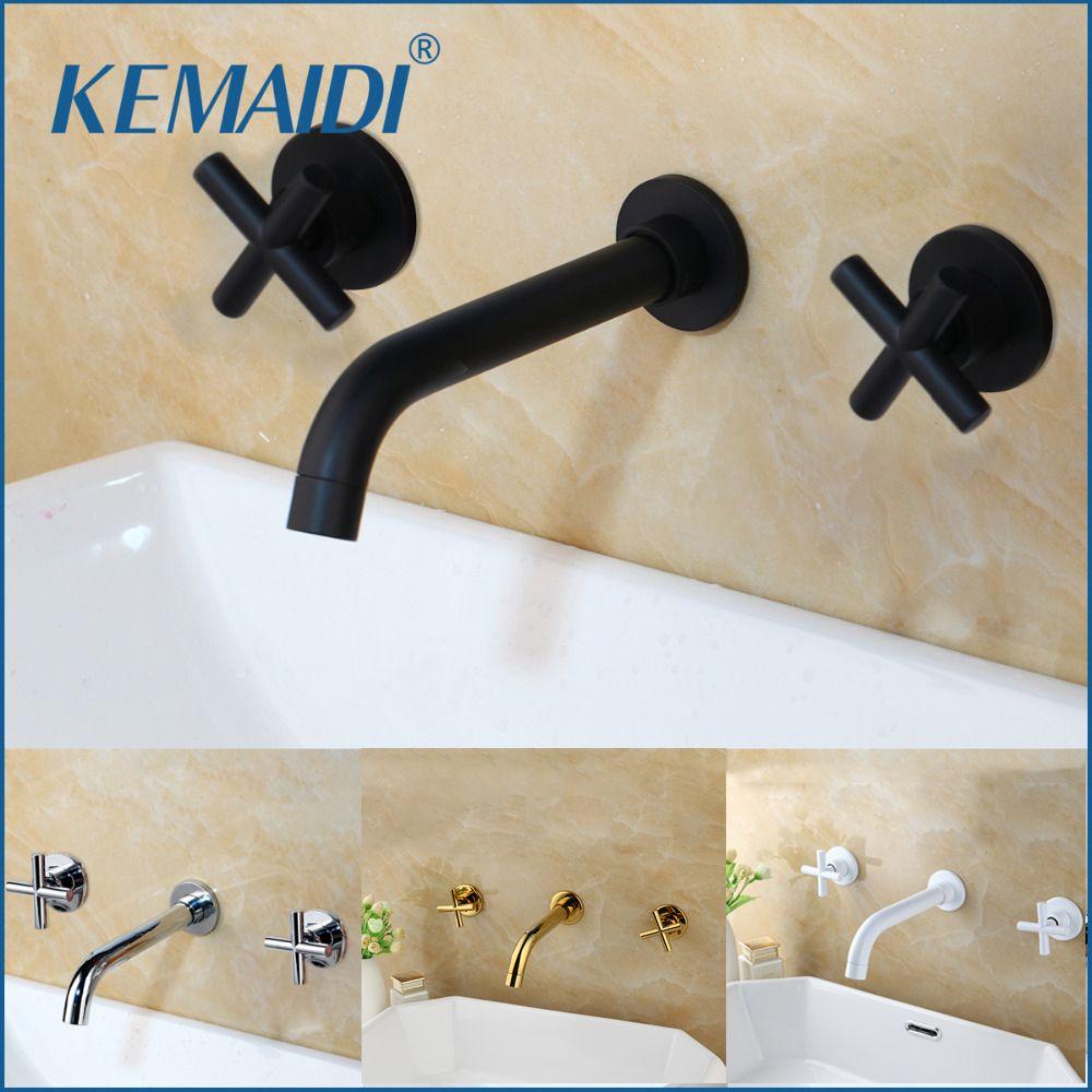 KEMAIDI robinets mode évier mural bassin mitigeur Set salle de bain bec robinet avec Double levier en noir mat/or poli