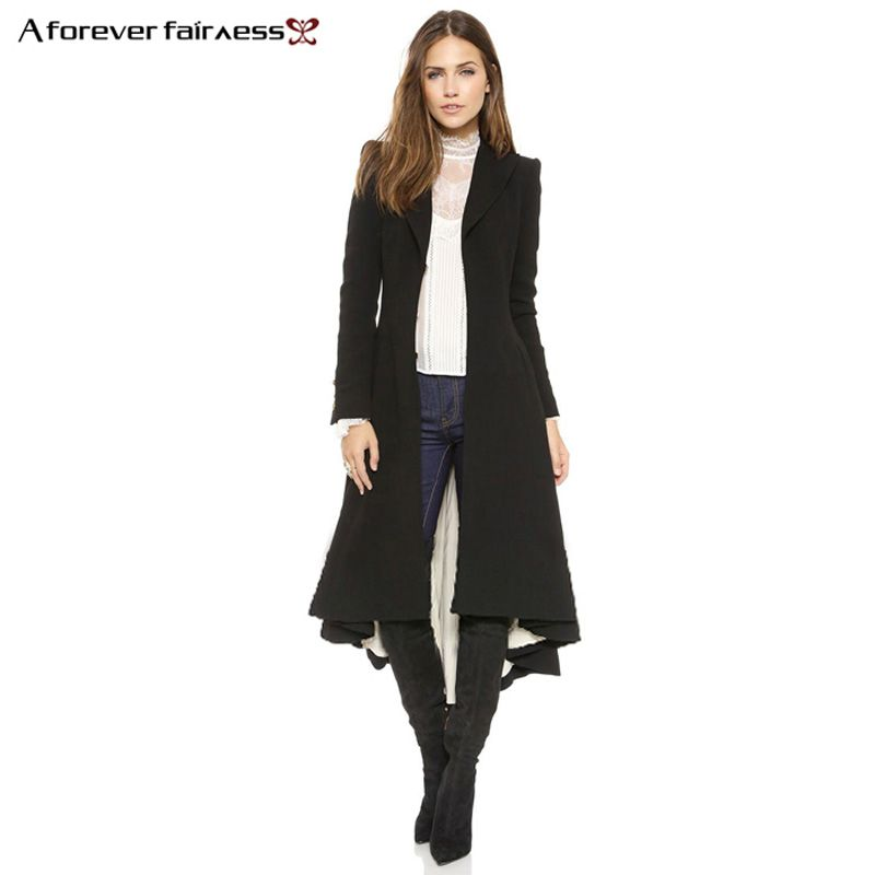 A Forever Autumn Women Coat European style Long Sleeve Casual Trench Coat Long Maxi Dovetail Fashion Slim Black Trench Coats 745