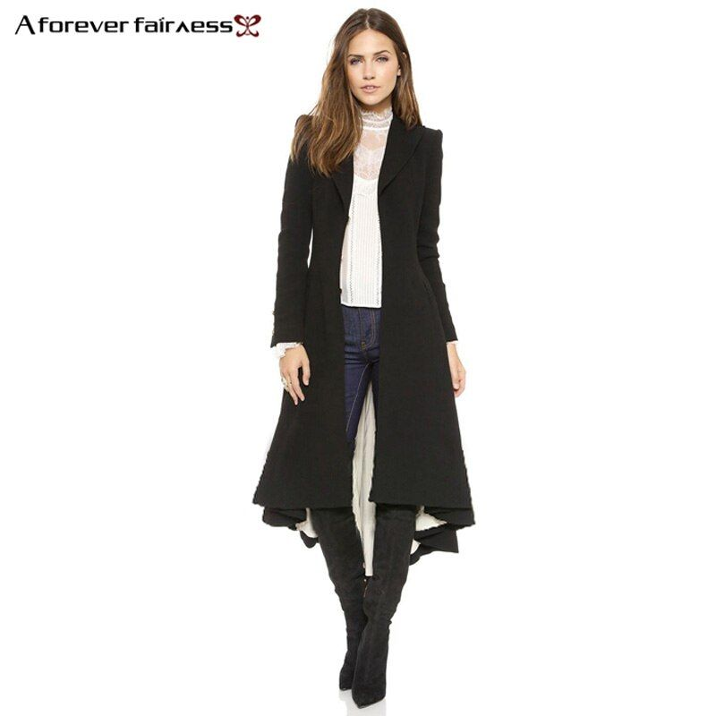 A Forever <font><b>Autumn</b></font> Women Coat European style Long Sleeve Casual Trench Coat Long Maxi Dovetail Fashion Slim Black Trench Coats 745
