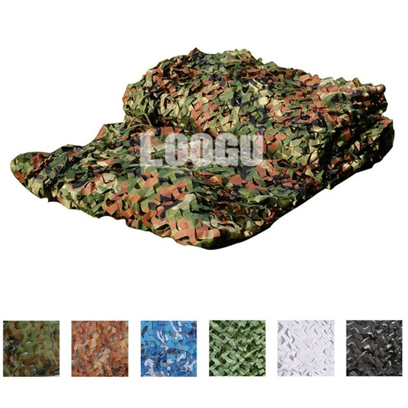LOOGU 5M*8M Hunting Blind Tent Military Filet Camouflage Netting 150D Polyester Outdoor CS Paintball Shooting Hunting Blind Tent