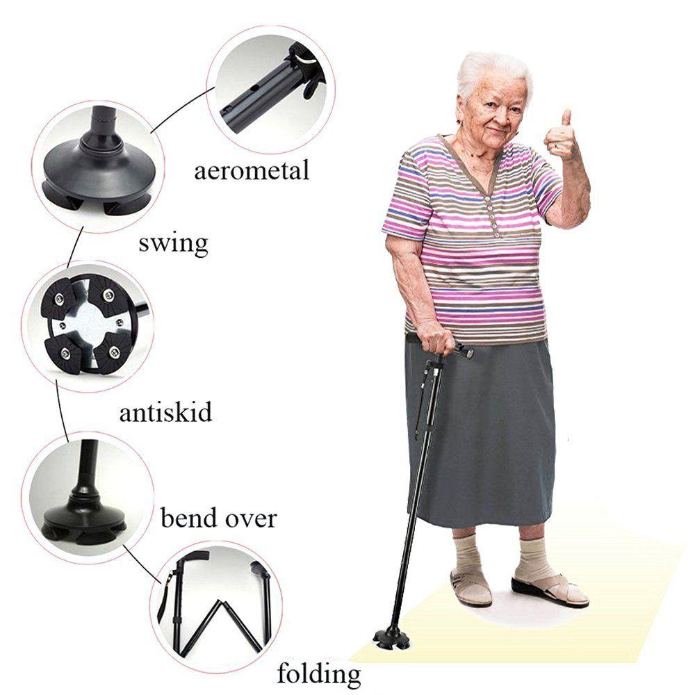 led light old man folding trekking poles T-handle man hiking poles cane walking stick for elders bastones para ancianos