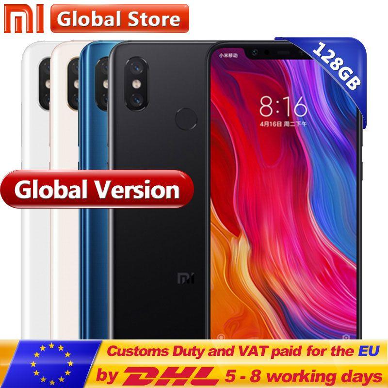 Global Version Xiaomi Mi 8 6GB 128GB Mobile Phone 6.21'' AMOLED Display Snapdragon 845 Octa Core Dual Band GPS Dual Camera