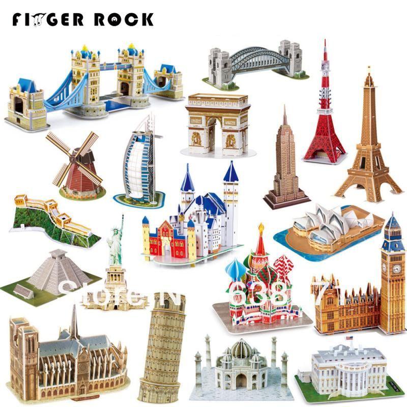 Vente chaude magique 3D Puzzle enfants jouets éducatifs de travaux manuels papier Puzzles Puzzle pour enfants adultes maison château célèbre bâtiment