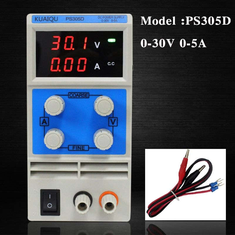 KUAIQU mini DC Power Supply,Switching Power Supply Display Digital Variable Adjustable power 0-30V0-5A PS305D