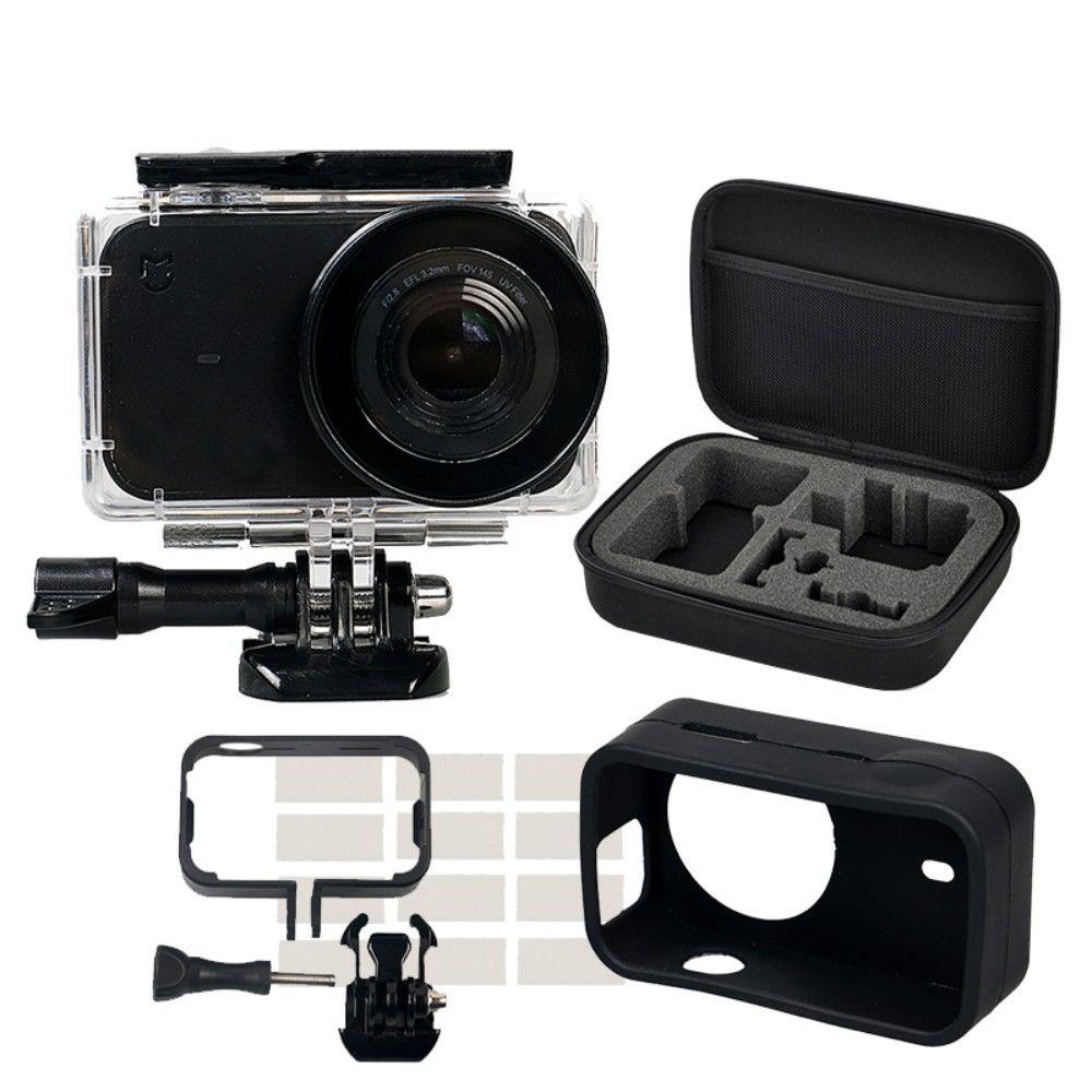 Kit de protección para xiaomi mijia 4 K protable mini cámara impermeable vivienda caso lado Marcos cubierta silicona Conchas para surf