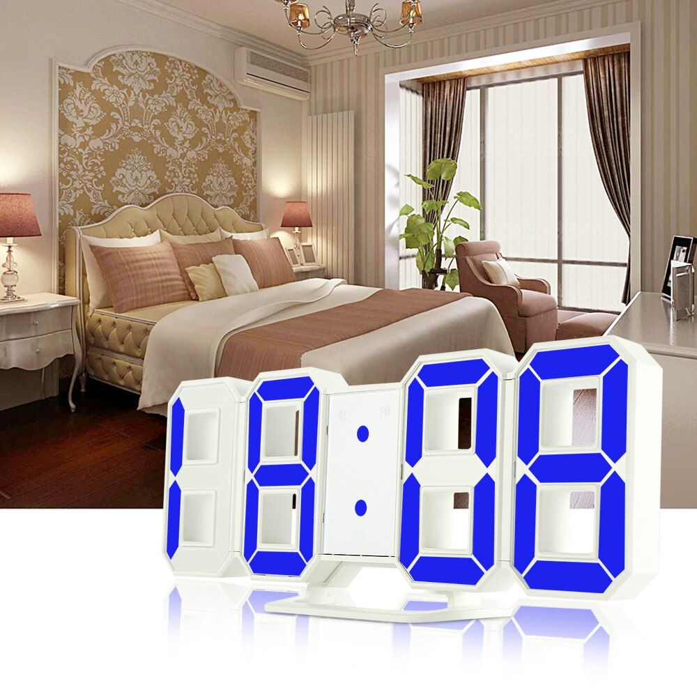 Original Modern Wall Clock Digital 3D LED Table Clock Watches 12/24 <font><b>Hours</b></font> Display Clock mechanism Alarm Snooze Desk Alarm Clock