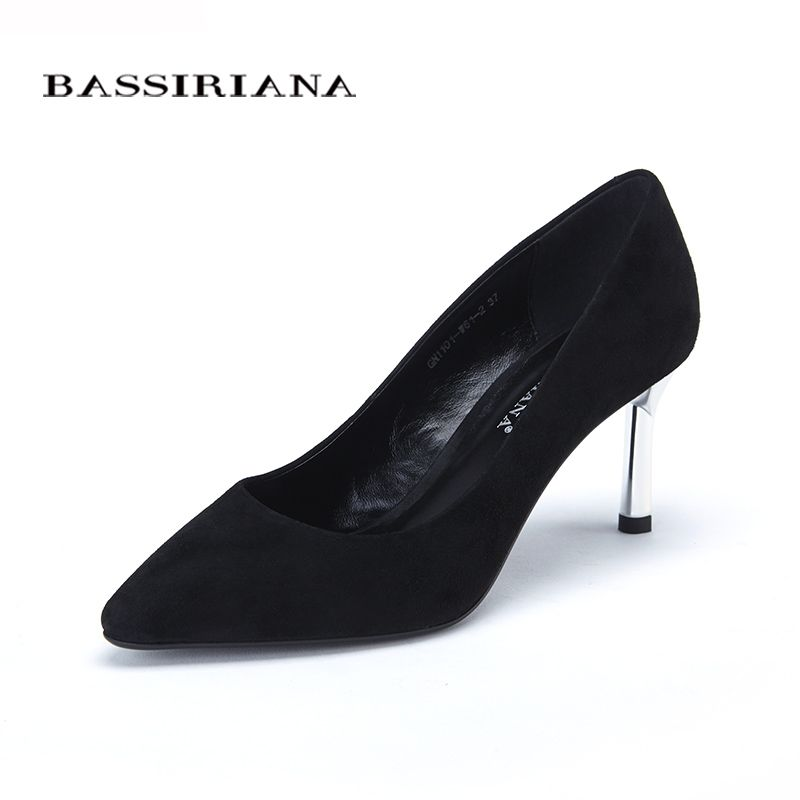 Shoes 2017 New high heels pumps for woman Basic model Office&Career Pointed Toe Genuine leather 35-40 Free shipping BASSIRIANA