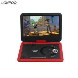 LONPOO Portable DVD player  10.1 Inch DVD with rotatable screen game and TV function support CD player Car charger for home car