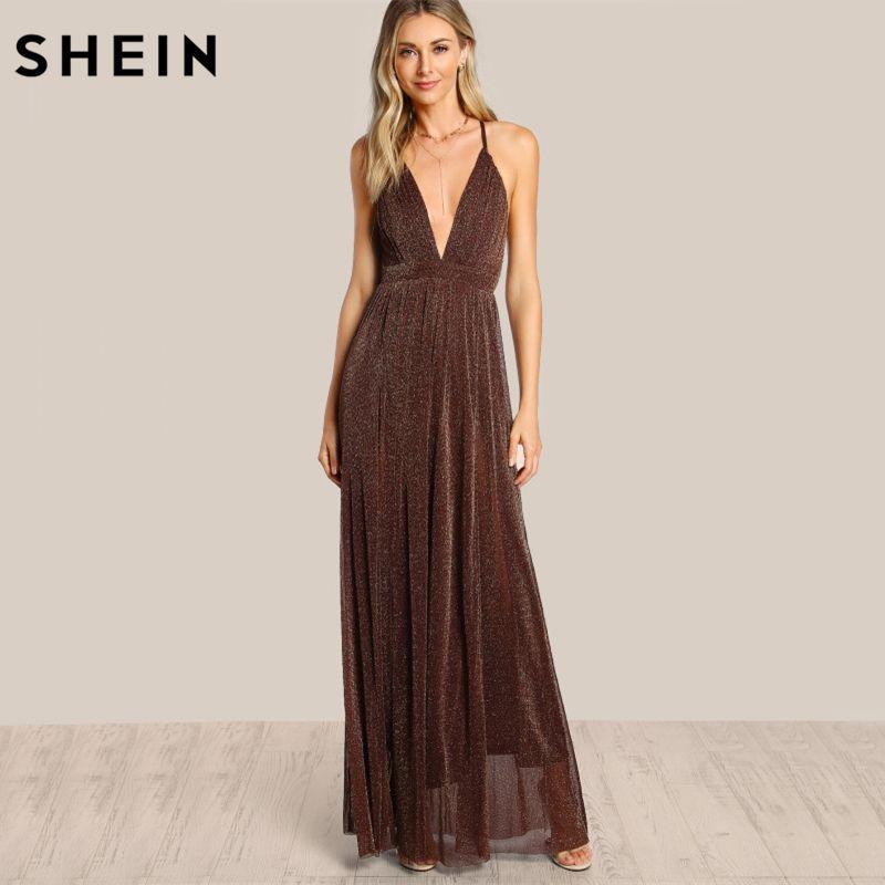 SHEIN Spaghetti Strap Glitter Overlay Dress Brown Deep V Neck Backless A <font><b>Line</b></font> Sexy Maxi Dress Crisscross Back Slip Dress
