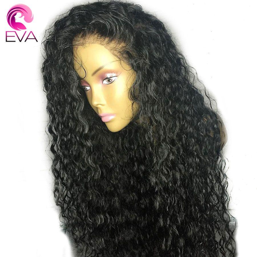 Eva Cheveux Bouclés Avant de Lacet Perruques de Cheveux Humains Pour Les Femmes Noires 10-26