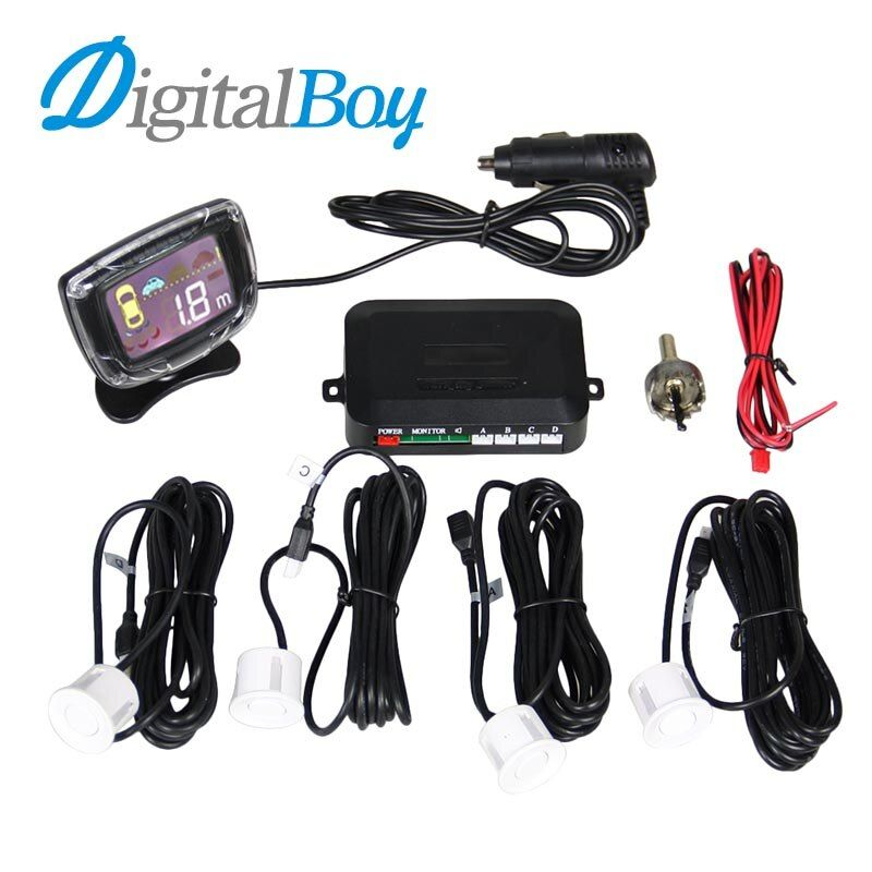 Digitalboy Car Charger Wireless LCD Display Parking System Reversing Radar Parking and 4 Sensors Car Parktronic Detector Monitor