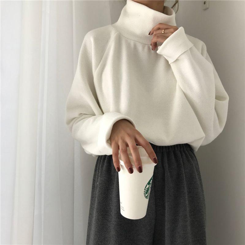 Automne nouveau femmes chandail décontracté lâche col roulé tricoté pulls 2018 manches longues chauve-souris au crochet pulls Streetwear hiver