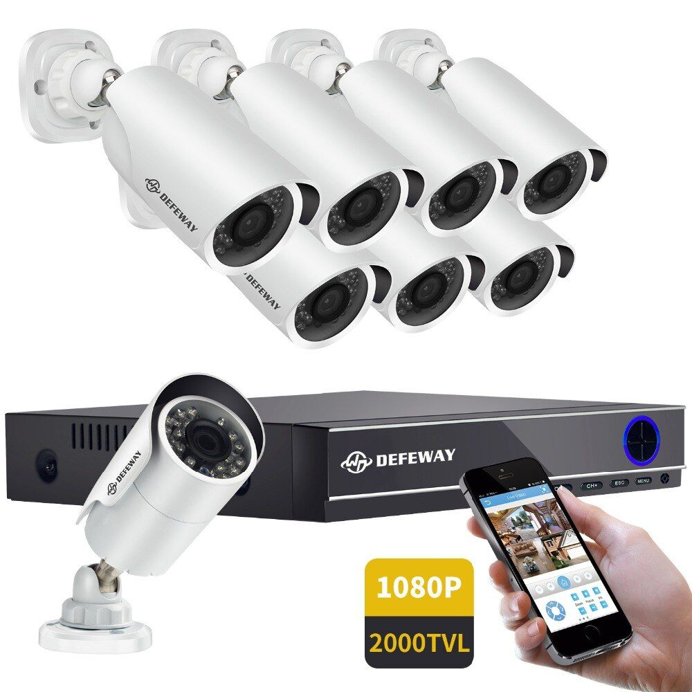 DEFEWAY 1080P HD Outdoor CCTV System HDD 8CH DVR 1080P <font><b>HDMI</b></font> Output Home Video Surveillance Weatherproof Security Camera 2000TVL