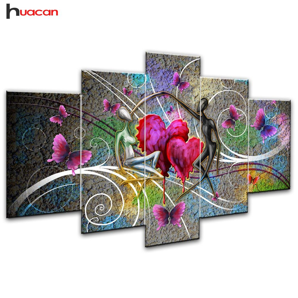 Huacan Lover Diamond Painting Needlework Cross Stitch Full Square Mosaic Multi-picture <font><b>Combination</b></font> Rhinestones DIY Gift