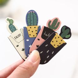 1 Set Fresh Cute Cactus Sakura Magnetic Bookmarks Books Marker of Page Student Stationery School Office Supply