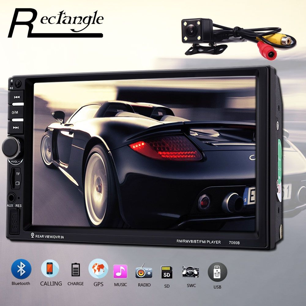 Rectangle 7060B 7 Inch Car Multimedia Player FM Radio Bluetooth USB MP5 Player with Rear View Camera Steering Wheel Control