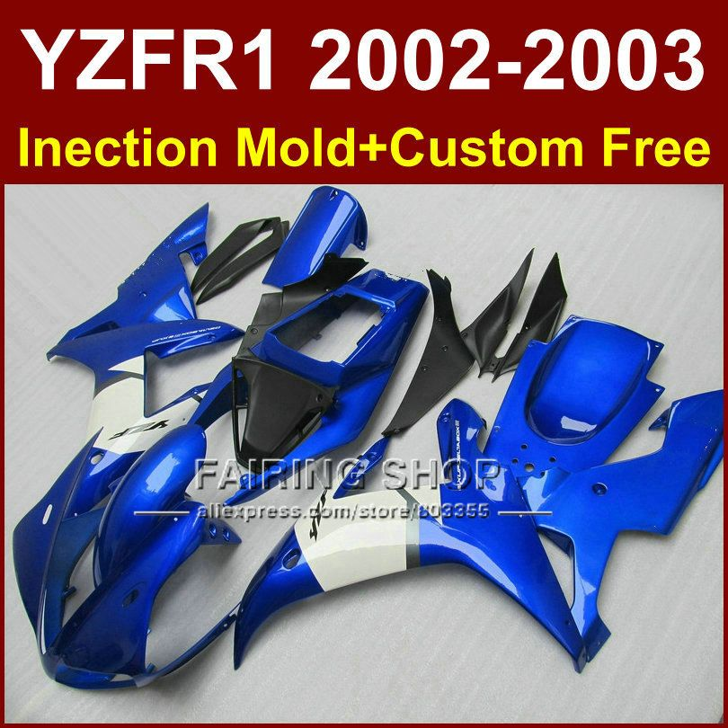 Aftermarket-karosseriereparatur teile für YAMAHA YZFR1 2002 2003 blau weiß verkleidungen yzf r1 YZF1000 02 03 körper verkleidung