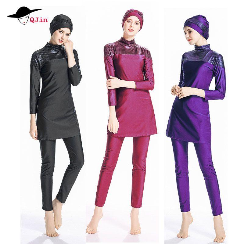 2018 plus size islamic swimsuit muslim swimwear For Women Full Coverage Hijab Swimming Beachwear burkinis girls muslim swimwear