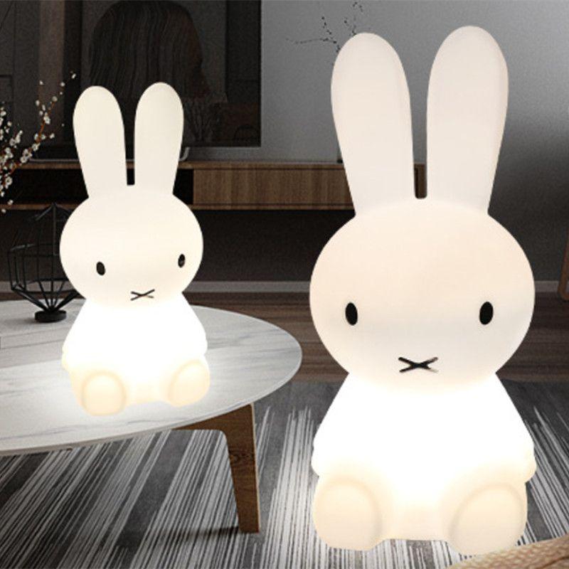 80 CM Conejo Noche de Luz Led Regulable para Bebé Niños de Regalo Animal de la Historieta Decorativa Lámpara de Noche Dormitorio Sala de estar