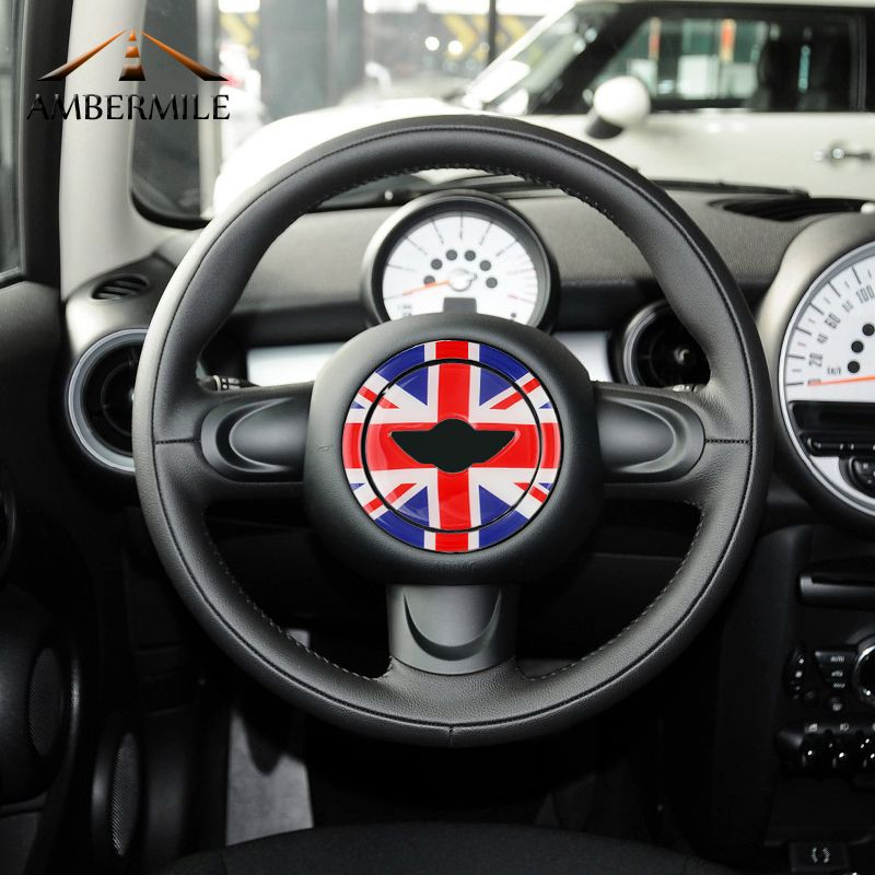 AMBERMILE 3D Directeur De Center De Roue De Voiture Autocollants Décoration Stickers pour Mini Cooper Countryman R55 R56 R57 R58 R60 R61 Accessoires