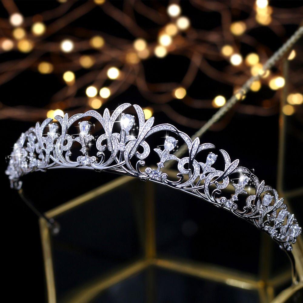 Edle Zirkon Schönheit Prinzessin Tiara Cubic Zirkon Hochzeit Braut Tiara Krone Strass Pageant Crown Für Bräute Stirnbänder