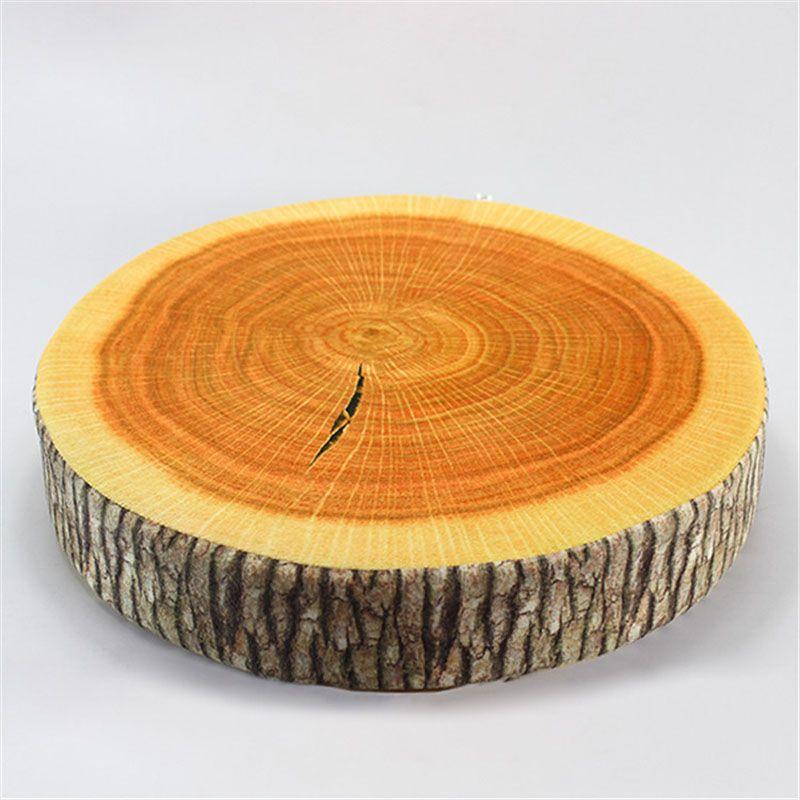 Vente CHAUDE pastorale style imprimé ronde usine creative Tronçon D'arbre En Bois Canapé et siège De Voiture Coussin Oreillers 35 cm * 35 cm * 8 cm