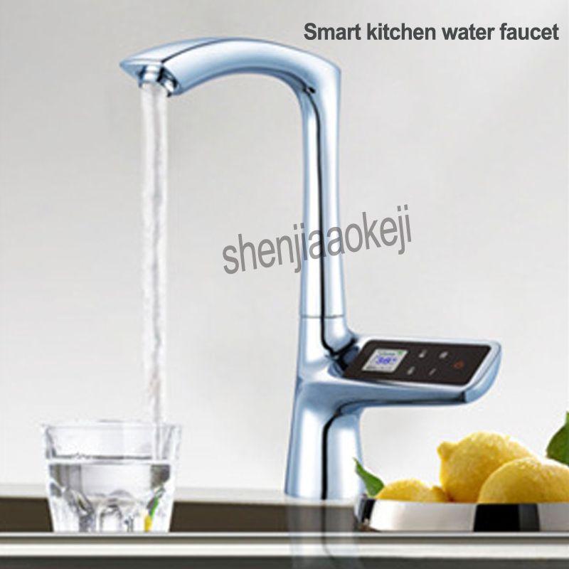 100-240 V Smart Küche Wasserhahn Einzigen Loch LCD Display Touchscreen Thermostat Bad Armaturen Digital Wasserhahn 1 PC