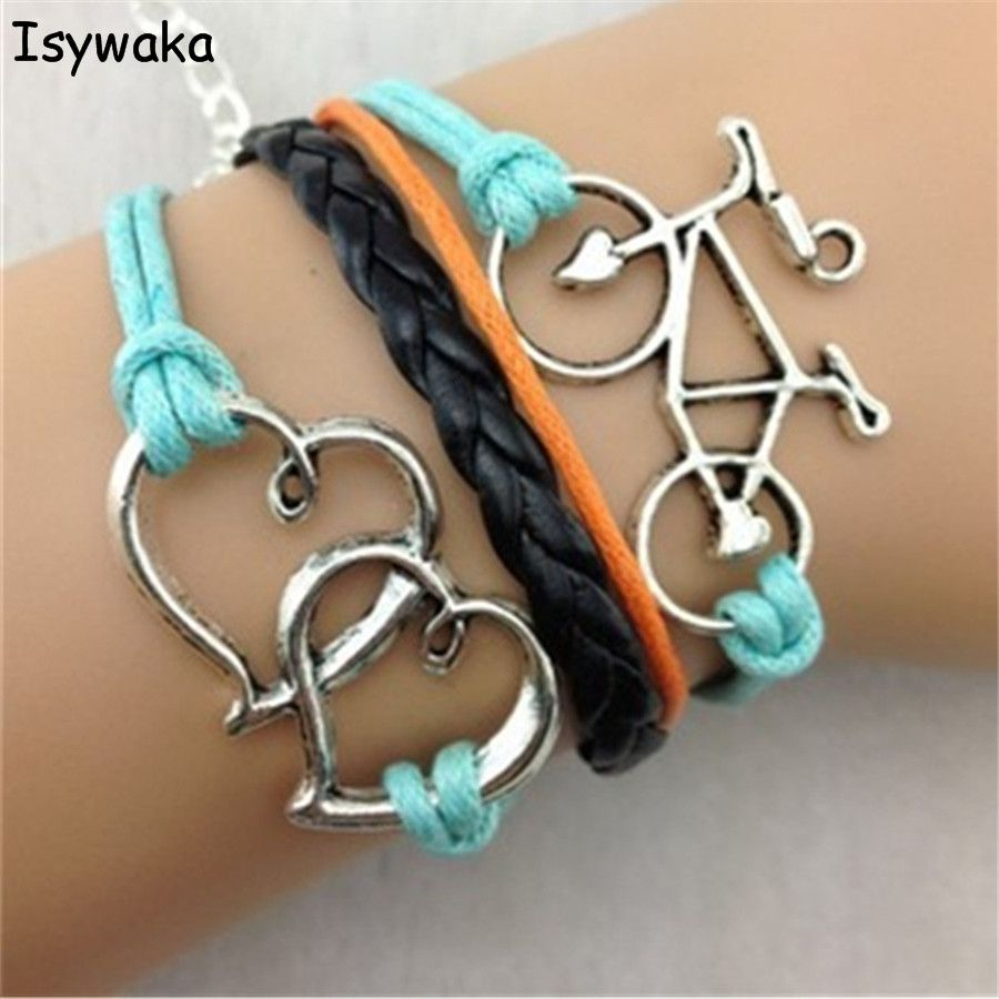 Isywaka Wholesale 1 Dozen Love Blue Black Leather Braided Bracelet Cords Wrap Bangles For Men Women Charm Bohemia Bracelet Gift