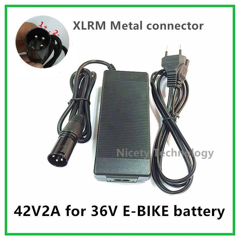 42V2A lithium vélo électrique chargeur de batterie pour 36 V batterie au lithium pack XLRM Prise/connecteur bonne qualité