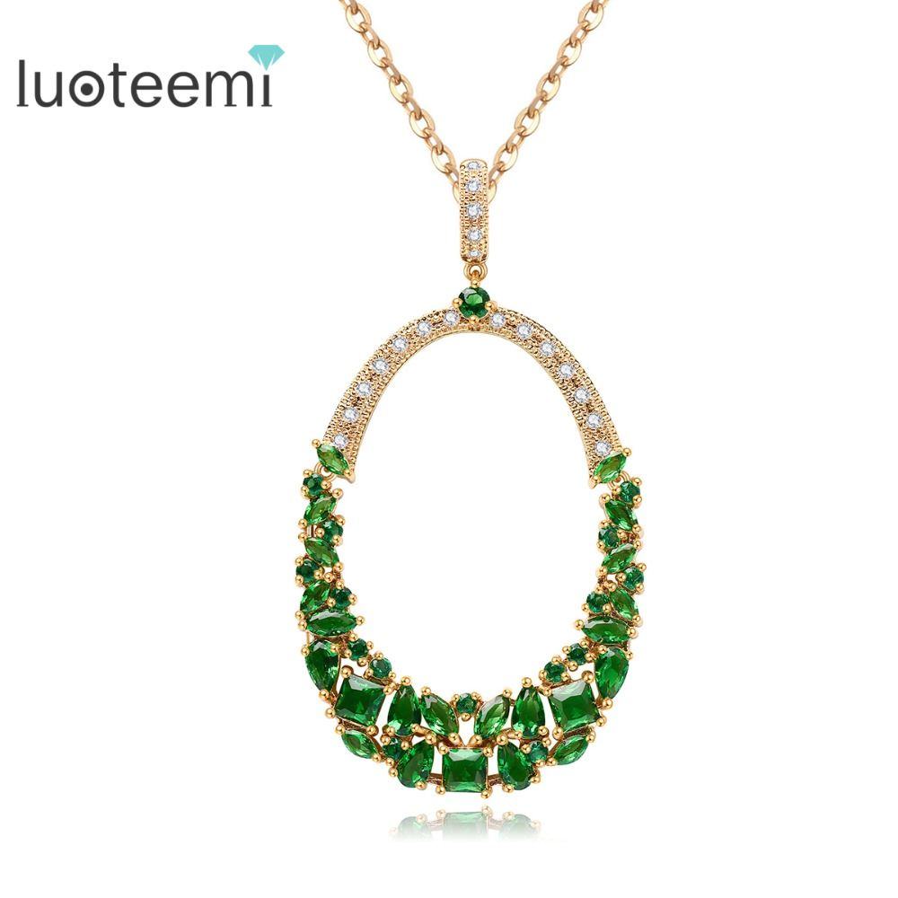 LUOTEEMI Free shipping 4-Colors Choice Gold-Color AAA Cubic Zircon Big Bridal Hyperbole Neckalce Fashion Jewelry for Women Lady