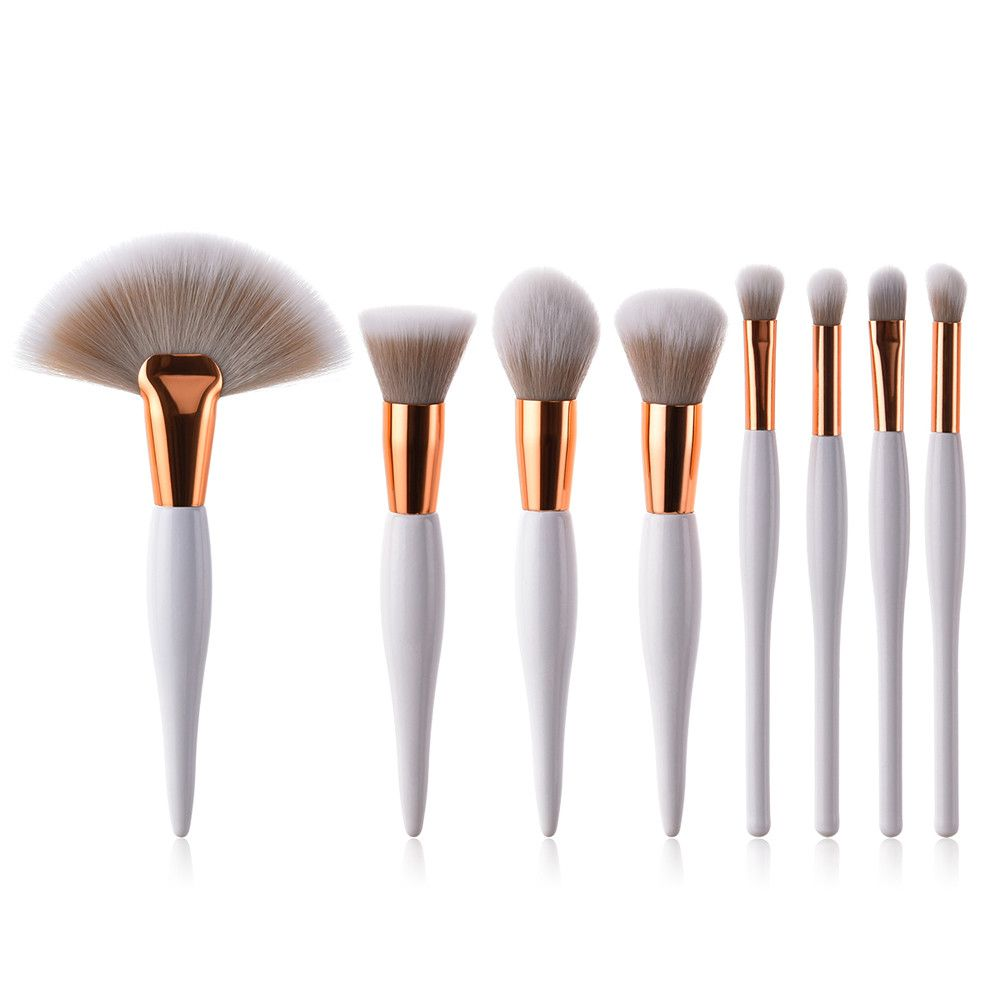 8 pcs Professional Makeup Brushes Set Foundation Eyeshadow Eyeliner Lip Brush Tool White Black Cosmetic Tool Drop Shipping 1j19